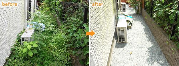 防草シート&砂利で雑草対策