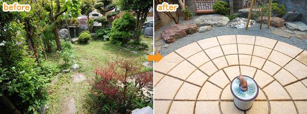 石貼り(天然石調平板) で雑草対策・雑草除去