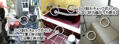 お風呂のタイル割れ、床にひび割れシロアリ事例
