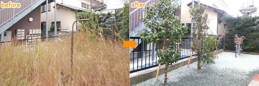 神奈川県 横浜市 タイル貼り 雑草対策 植栽目隠し施工事例
