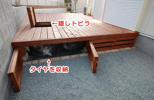 神奈川県鎌倉市 H様 雑草対策 ウッドデッキ収納施工例