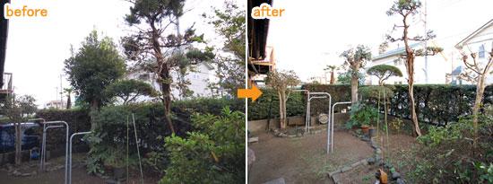 神奈川県茅ヶ崎市B様邸 ウッドフェンス工事・剪定施工例