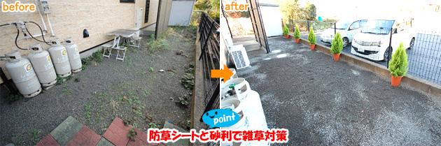 コンクリートで雑草対策&目隠しフェンス工事 雑草対策,草取り,草が生えない,雑草除去,安い,値段,50万円以下,100万円以下,お手頃