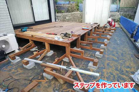 神奈川県藤沢市N様 ハードウッド イタウバ ウッドデッキ・枕木敷き込み・ジューンベリー植栽施工事例