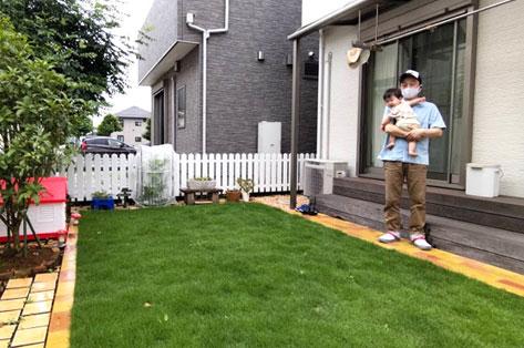 神奈川県藤沢市S様 子どもと愛犬が遊べる天然芝生のお庭施工例