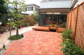 神奈川県茅ヶ崎市 レンガ張り 庭リフォーム・造園施工事例・庭づくり